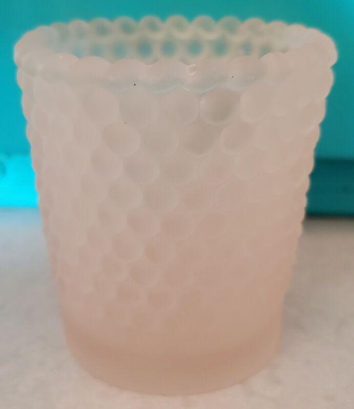 """Vintage light pink hobnail glass votive candle cup toothpick holder 2-1/2"""""""