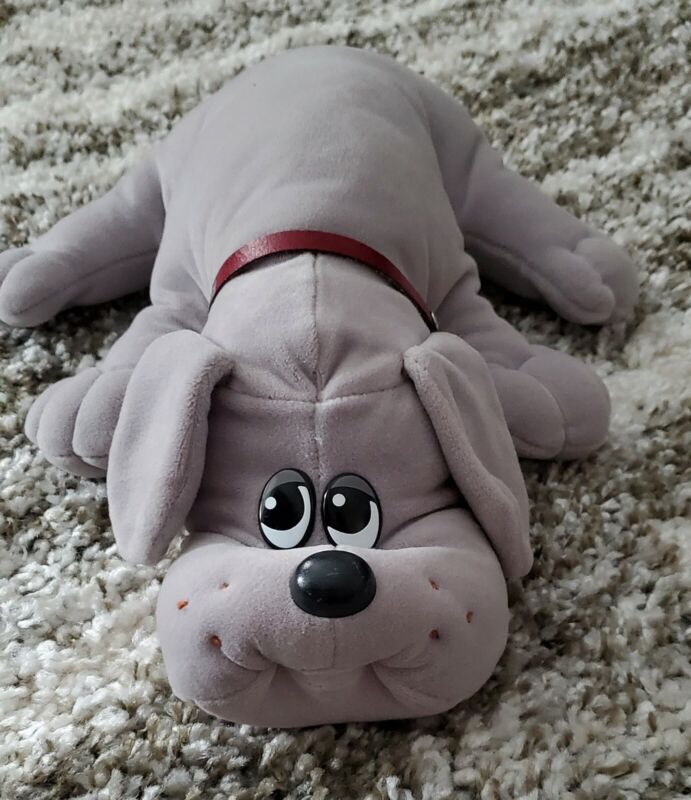 "POUND PUPPIES GREY 17"" VINTAGE 1985 TONKA PUPPY DOG PLUSH Short Ears w/ Collar"