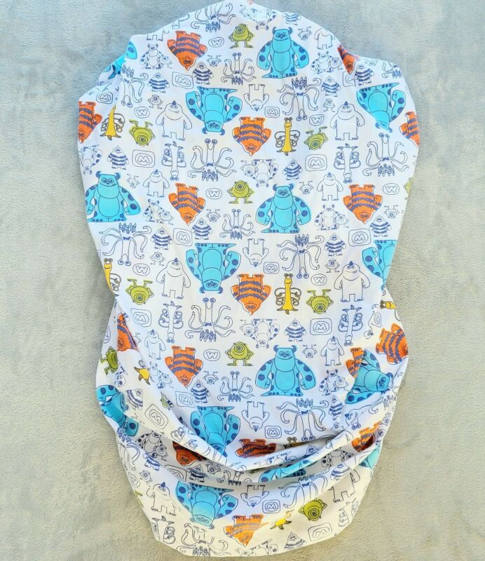 Disney Baby Monsters Inc Crib Fitted Bed Sheet Nursery Bedding Blue White Orange