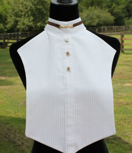 New Hunt Seat Horse Show Dickie - White Pinstripe w/ Brown Trim & Snaffle Bit