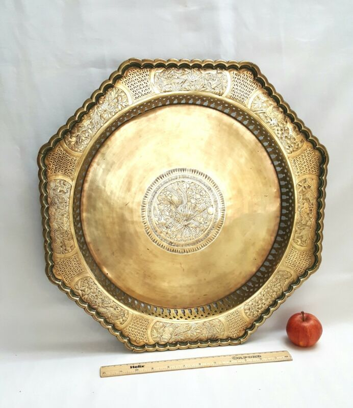 Antique Chinese brass tray, octagonal engraved brass tray, 19th century Oriental