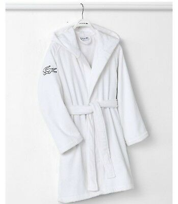 NWT Lacoste Fairplay Cotton Bath Robe One Size White Color  MSRP: $100