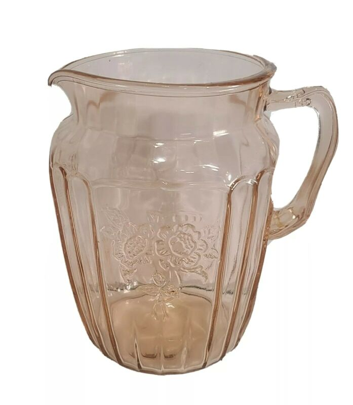 Anchor Hocking Depression Glass Pink Mayfair Open Rose 80 Ounce Water Pitcher