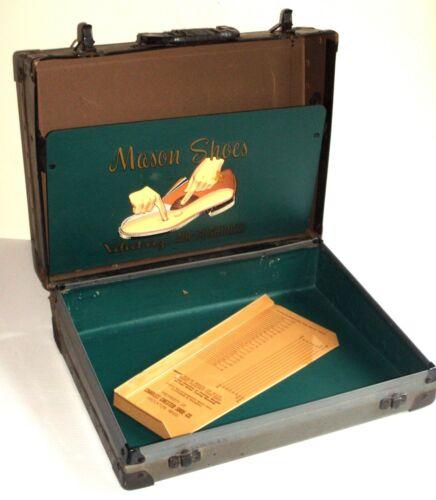 Vintage Mason Shoe Door to Door Salesman Advertising Case with Metal Foot Sizer