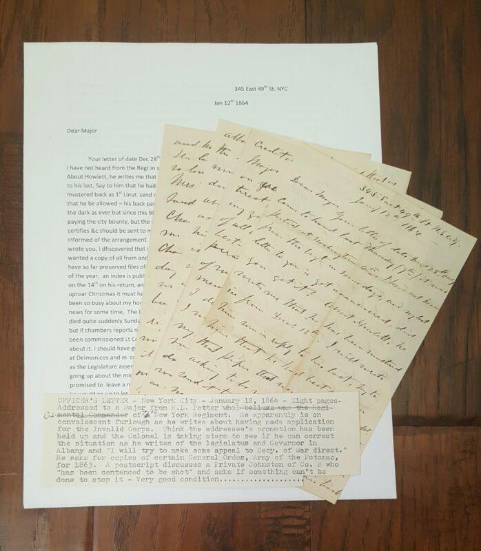 Excelsior Brigade Civil War Letter - Colonel Henry L Potter - 71st New York Regt