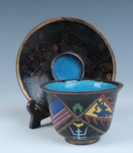 Antique Chinese Cloisonne Tea Bowl & Saucer American & Qing Dynasty Flags Enamel