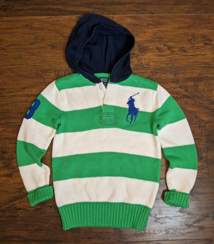 Boys Polo By Ralph Lauren Bold Striped Hoodie Sweater 10-12
