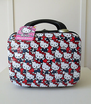 NWT Designer Hello Kitty Large Train Makeup Cosmetic Travel Case Hard Shell