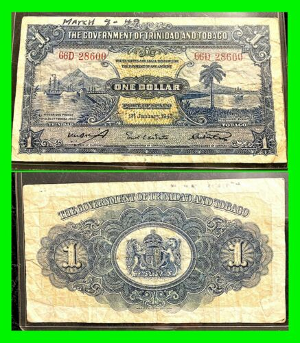 Authentic Trinidad And Tobago 1 Dollar Circulated January 1st 1943 4 Of 4  - $29.99