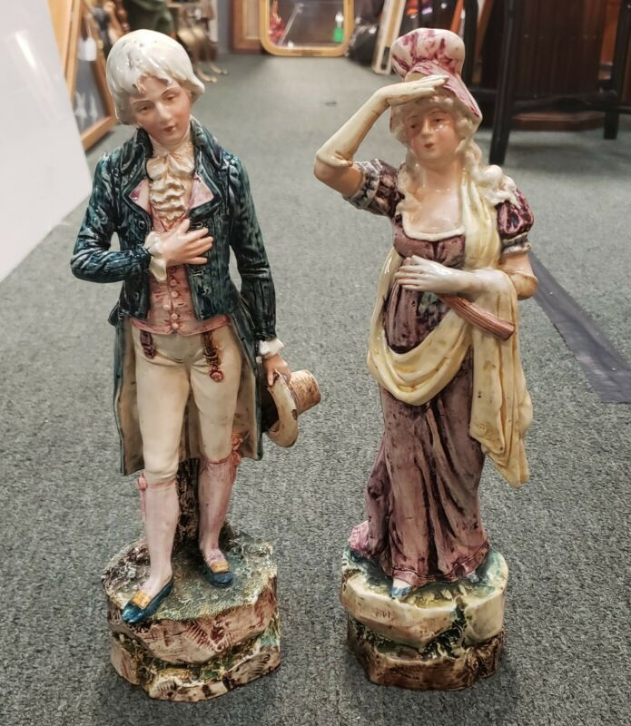 Late 19th Century French Majolica Porcelain Victorian Man and Woman Figurines