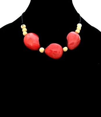 Red Tagua Nut Necklace, Eco Friendly Tagua BIB Necklace TAG187 ()