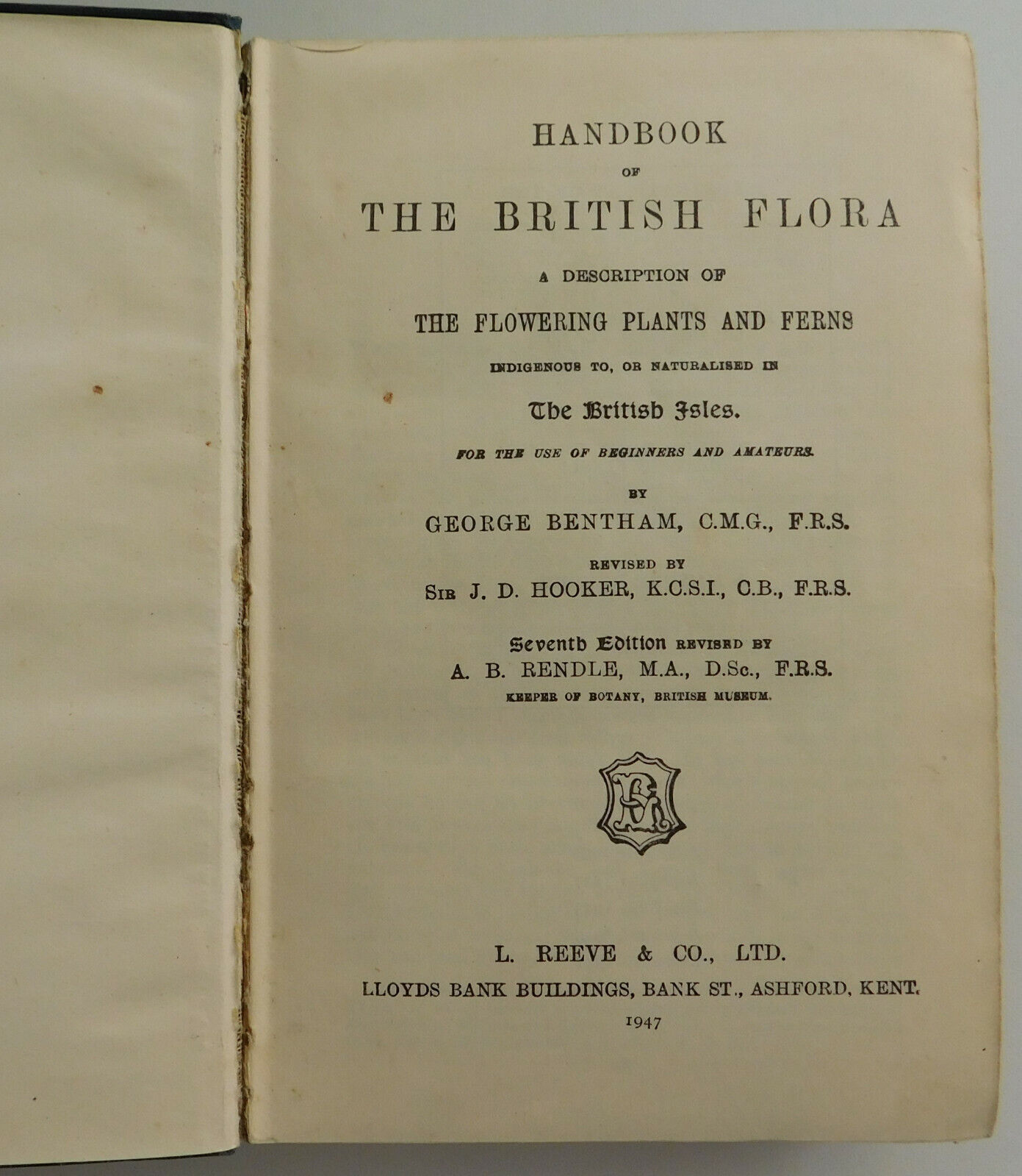 Handbook of the British Flora George Bentham book about flowers and ferns 1940s