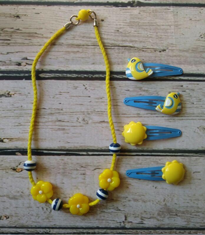 Gymboree Pocketful Of Sunshine yellow bird & sun hair clips matching necklace