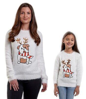 Christmas Jumpers Mums & Daughters Matching Cute Bull Dog Xmas Knit Mini Me Girl ()