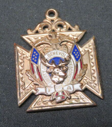 Vintage FOA Elk Club/Lodge Gold-Tone & Enamel Southern Cross Medal