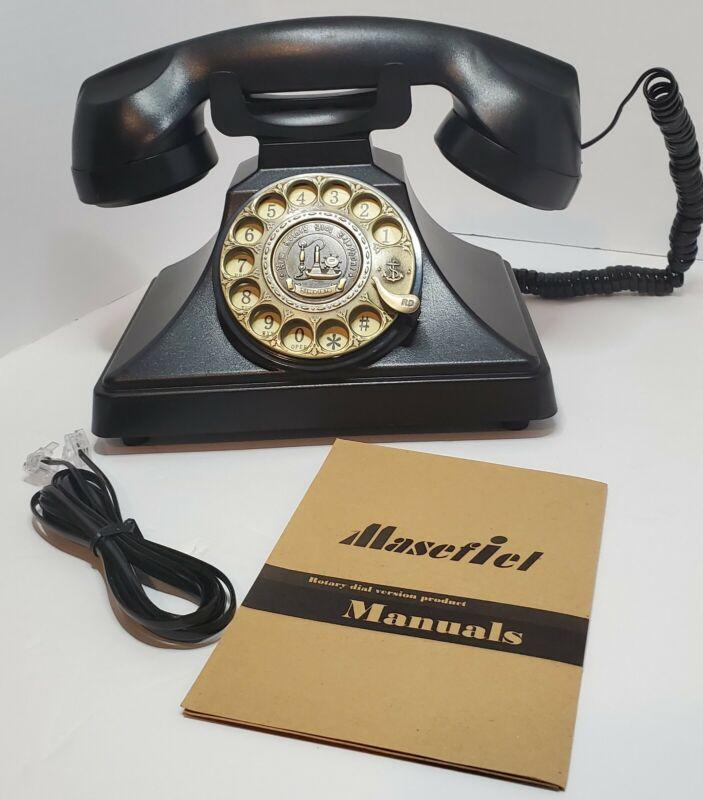 European Type Archaic Telephone- Black Rotary Dial Version