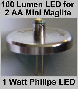 Mini MAGLITE LED Upgrade Bulb for 2 AA Torch. Brightest Philip 1 watt Conversion