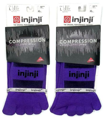 Injinji Toe Socks Compression Purple Ex-Celerator LARGE Running Trail LOT OF 2
