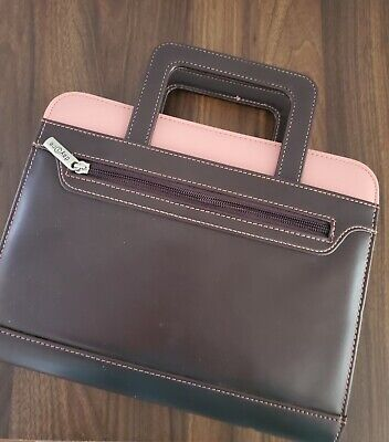 Franklin Covey Planner Binder Retractable Handles Day One Brown Leather Pink