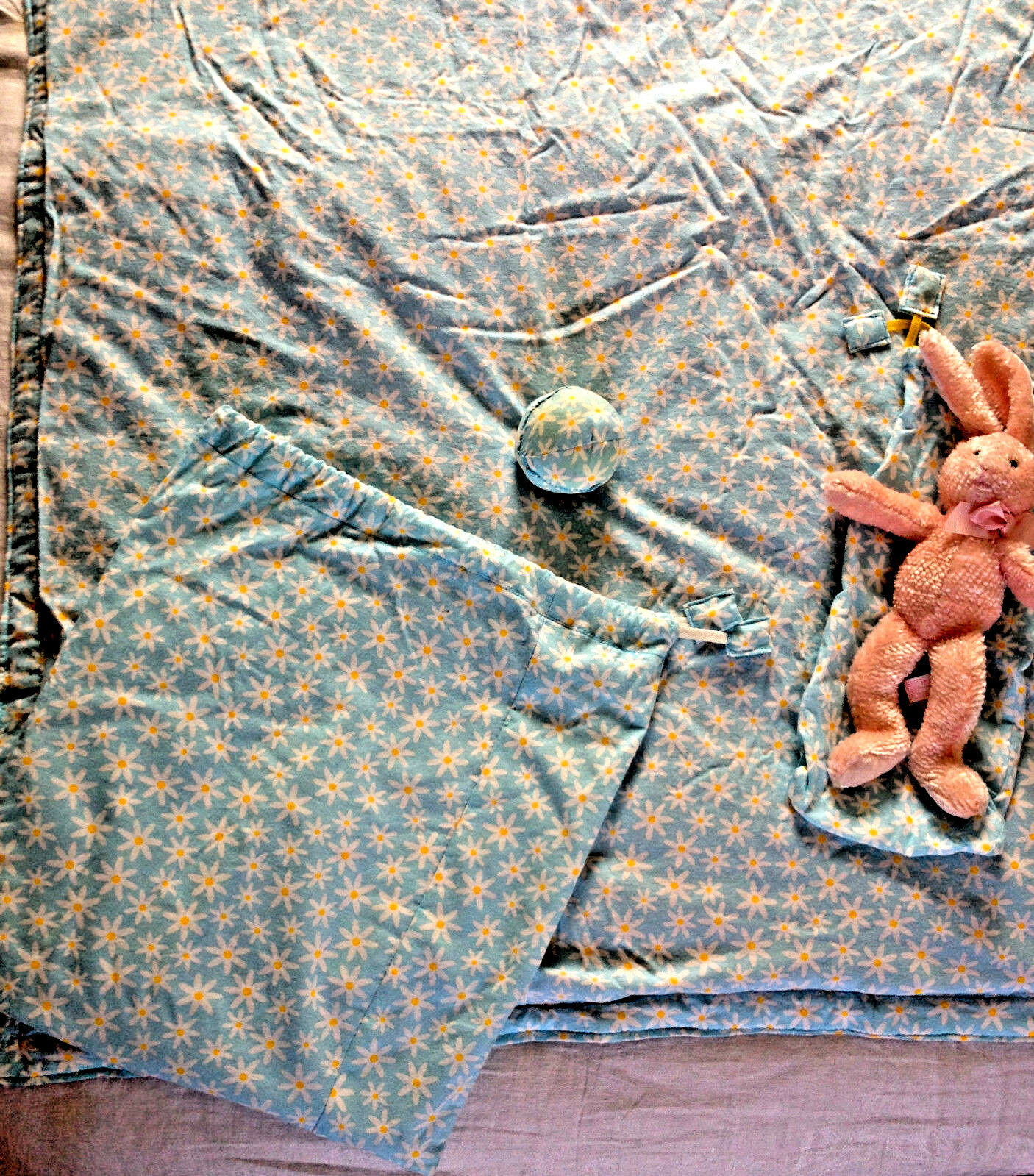 Hand Made Baby Down Comforter with Bunny & Travel Bags, Drye