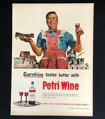 1948 Petri Wine Advertisement Man Cook in Apron Messy Kitchen Vtg Print AD