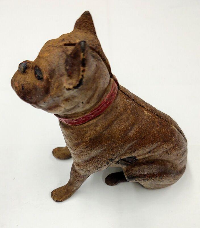 Vintage Hubley Cast Iron Boxer Dog Bank