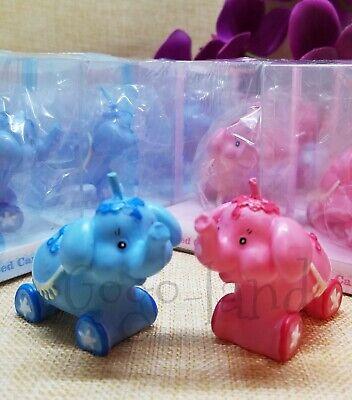 6 Pink Elephant Or Blue Elephant Baby Shower Favors Candles - Candle Baby Shower Favors