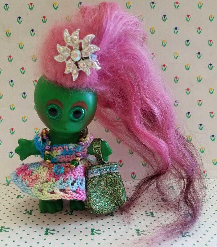 "1964 Vintage 3 1/2"" L Khem Moon Goon  Green Troll Doll Dam Era New Hair & Outfit"