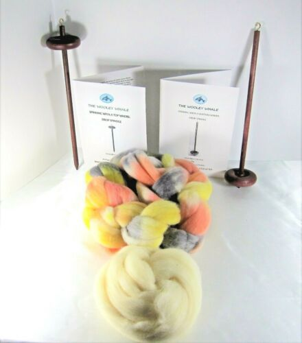 Double Drop Spindles Yarn Spinning Kit Maple Wood Colorway, Painted Desert