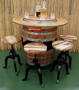 BARREL TABLE WITH STORAGE ON WHEELS / 4 INDUSTRIAL RELIC STOOLS Homebush Strathfield Area Preview