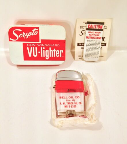 Vintage 1962 Scripto Vu Lighter Bell Oil Co. Unfired Unused W/ Box & Paperwork