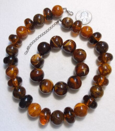 """Dark Brown Marbled Swirl Chunky Bead Necklace/Bracelet Set, Gorgeous Colors 20"""""""