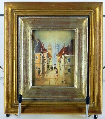 Street Signs In Italy (MINIATURE HAND PAINTED MADE IN ITALY SIGNED NEVA STREET SCENE OIL ON CANVAS)