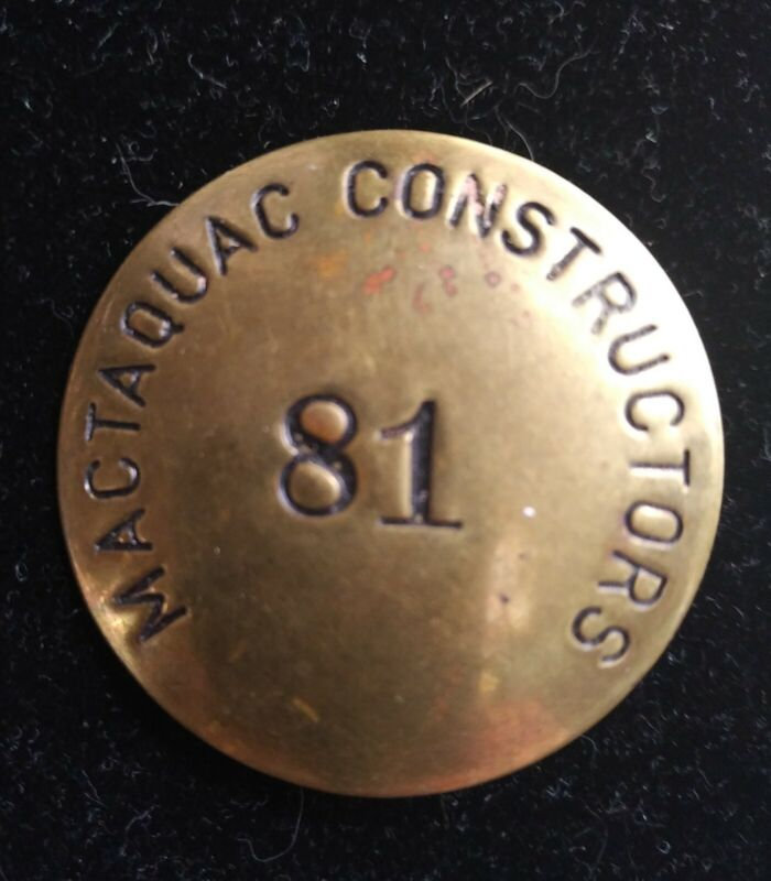 Mactaquac Dam Constructors Brass Badge Button 1960