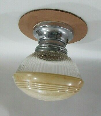 Vintage 1940's Screw On Glass Globe Threaded Chrome Ceiling Fixture FREE S/H