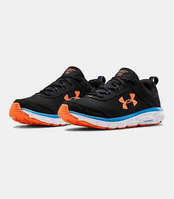 Men's Under Armour UA Charged Assert 8 Running Shoes - Black/White/Orange 003
