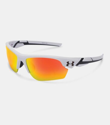 2020 Under Armour Boys UA Windup Shiny White Orange Mirror Lens Youth Sunglasses
