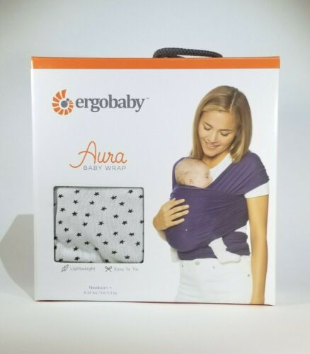 Ergobaby Aura Baby Wrap Carrier Sling Newborn 8 to 25 lbs Grey Stars