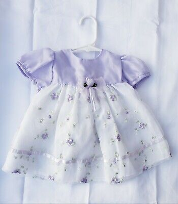 Bryan* Baby Girl Fancy Dress Purple Lilac White Floral Accents Sz 6-9 Months