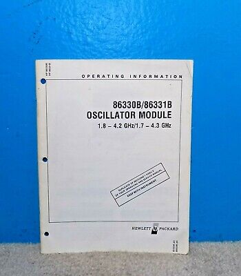 Orig Hp Hewlett Packard 86330b 86331b Oscillator Module Manual Free Shipping
