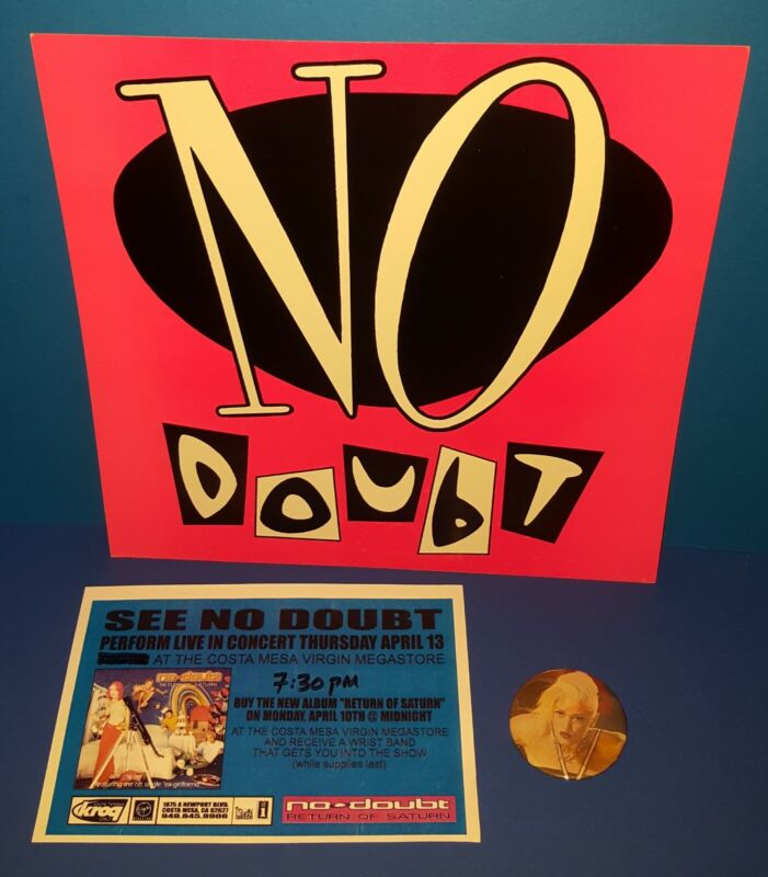 NO DOUBT PROMO ONLY 2 SIDED FLAT, VIRGIN IN STORE CONCERT FLYER, CONCERT BUTTON