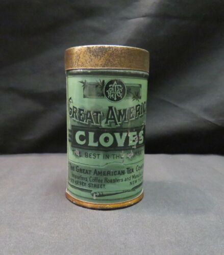 Vintage Great American Tea Company Cloves Spice Tin, Empty