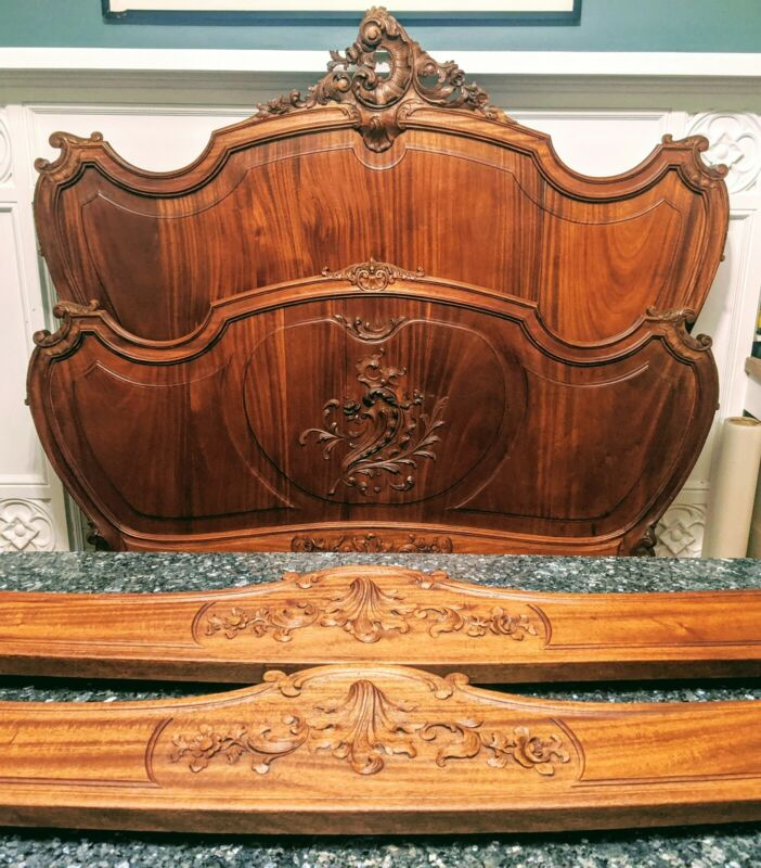 Hand-Carved Antique French Louis XV Full-Sized Bed | Gorgeous Color + Design