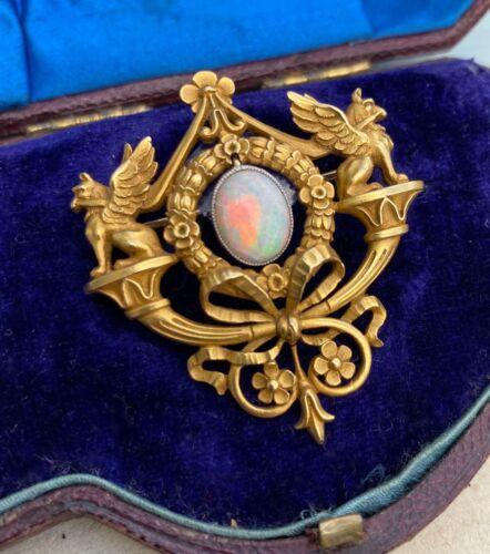 18K Opal Griffin Pendant / Brooch by Gaston Lafitte - French Art Nouveau