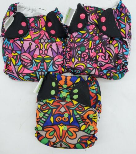 Lot BumGenius Cloth Diapers By Chelsea Perry With Inserts Multicolor One Size  - $72.00
