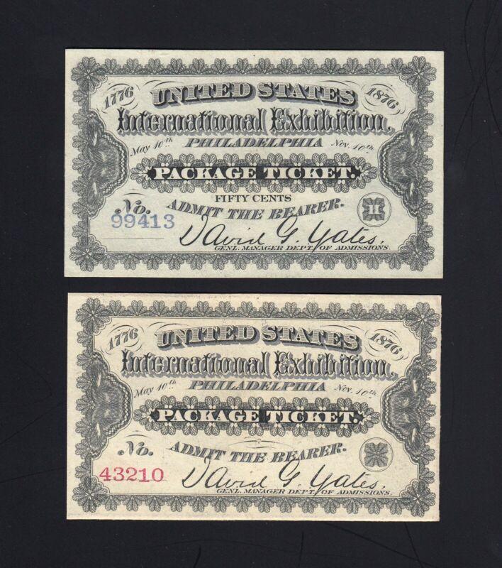 (2) 50c 1876 CENTENNIAL EXPOSITION Tickets