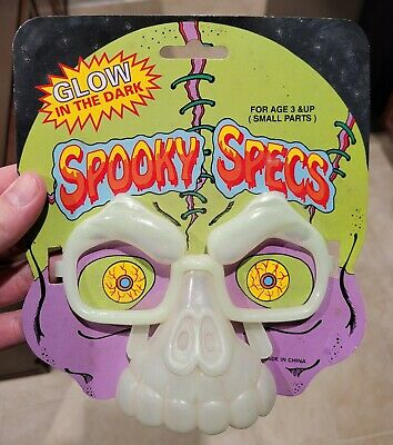 Ben Cooper Spooky Specs Skull Skeleton glasses halloween rack toy vintage glow