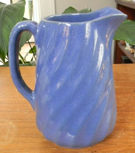 "Vintage BYBEE POTTERY Blue Swirl 6.5"" PITCHER Milk Jug VERY GOOD!"
