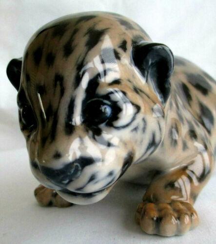 Vintage Royal Copenhagen Porcelain Jaguar Leopard Cub Figurine 4659 Jeanne Grut