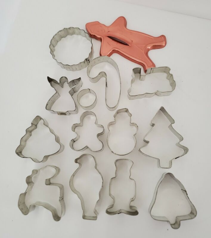 Vintage Christmas Metal Cookie Cutters Assorted Shapes Lot of 14